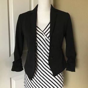 Black Express Ruched Sleeve Blazer